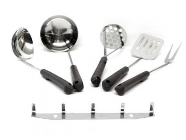 Набор кухонный с пластмассовыми ручками и металлическим подвесом 5 предметов