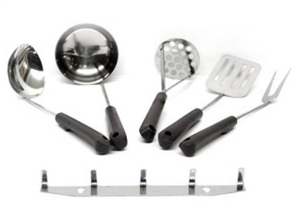 Набор кухонный с пластмассовыми ручками и подвесом 5 предметный