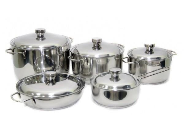 """Набор посуды 10 предметов """"Классика-ПРИМА"""" с металлическими крышками"""