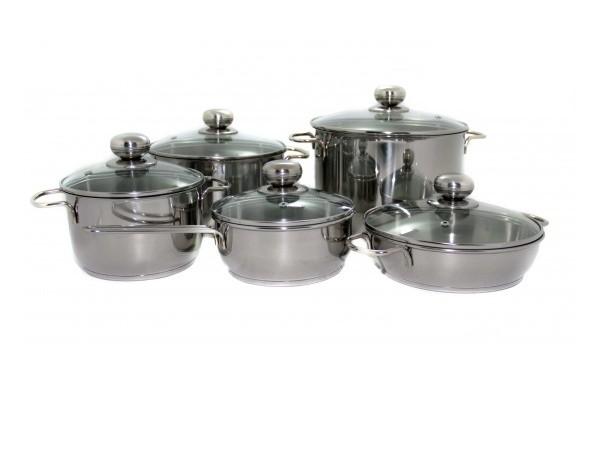 """Набор посуды 10 предметов """"Классика-ПРИМА"""" со стеклянными крышками"""